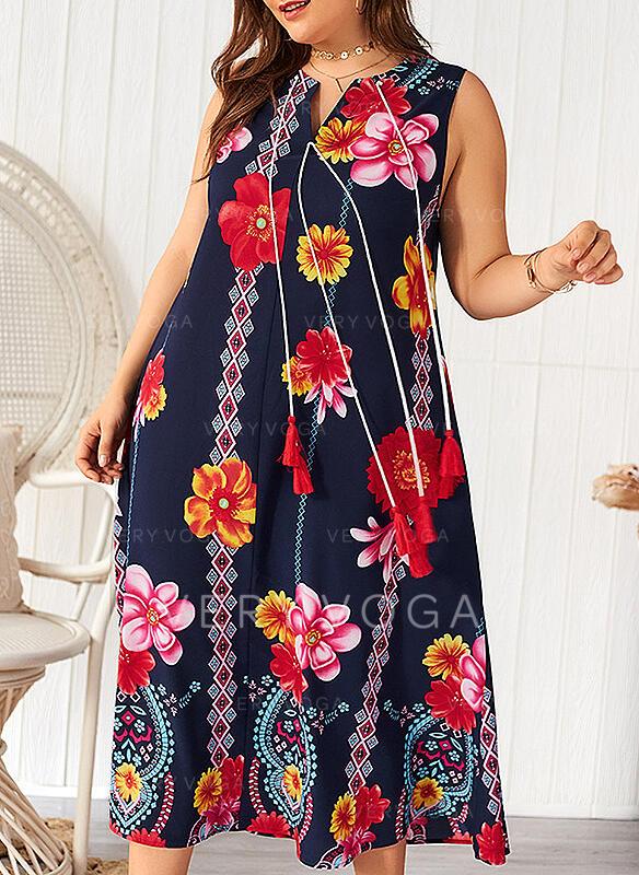 Estampado/Floral Sem mangas Shift Casual/Férias/Tamanho positivo Midi Vestidos