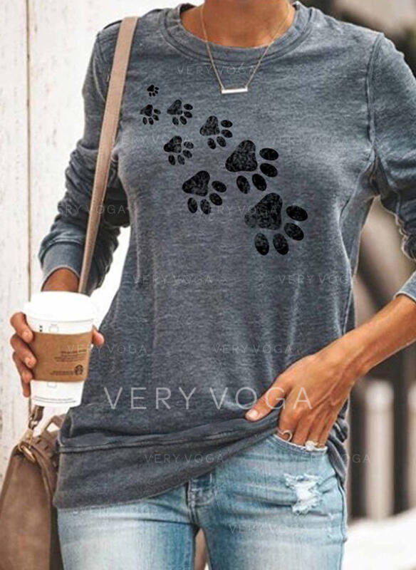 Animal Print Round Neck Long Sleeves Sweatshirt
