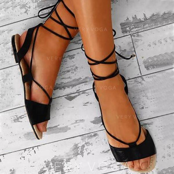 Mulheres PU Sem salto Sandálias com Aplicação de renda sapatos