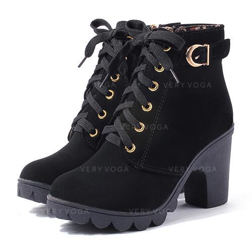 chunky heel open toe boots