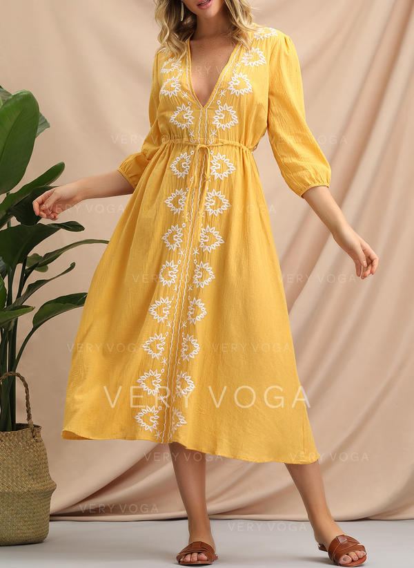 Embroidery 3/4 Sleeves A-line Casual/Boho/Vacation Midi Dresses