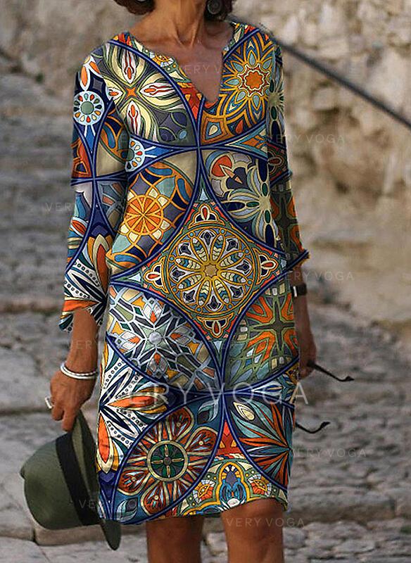 Print 3/4 Sleeves Shift Knee Length Casual Tunic Dresses