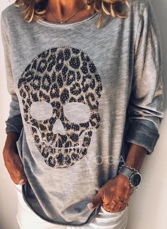 leopárd Yuvarlak Yaka Uzun kollu Günlük Blúzok