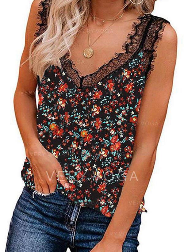 Print Floral Patchwork Lace V-Neck Sleeveless Casual Tank Tops (1003300974)