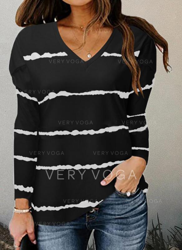 Nadruk Dekolt w kształcie litery V Długie rękawy T-shirty