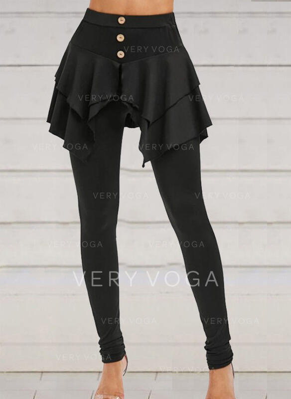Solid Plus Size Halloween Long Casual Elegant Sporty Leggings