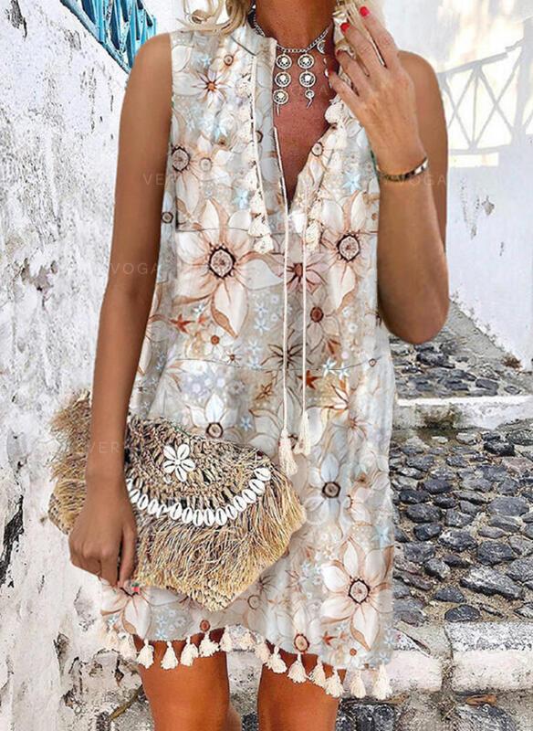 Impresión/Floral/Borla Sin mangas Vestidos sueltos Sobre la Rodilla Casual/Vacaciones Vestidos