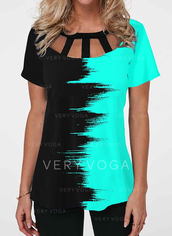 Gradient Round Neck Short Sleeves T-shirts