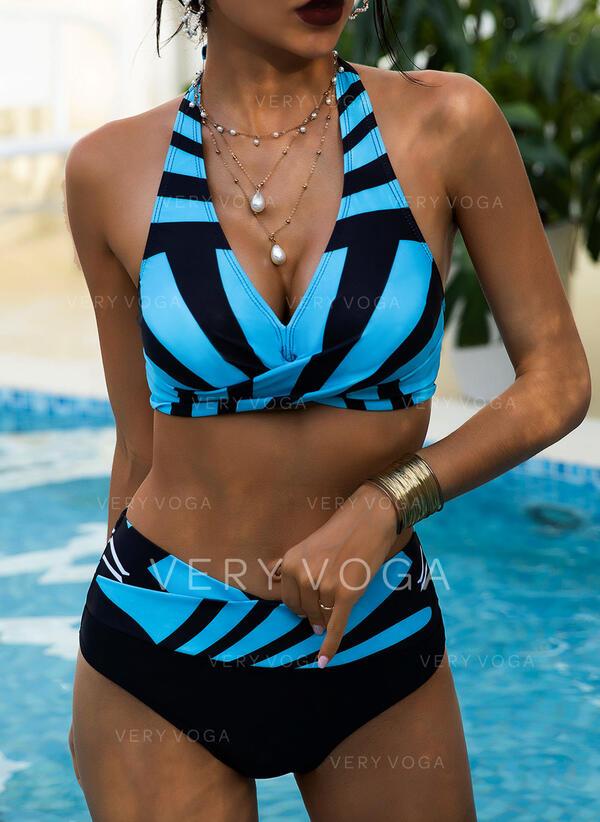 Pasek Wysoki stan Nadruk Wiązany na szyi Dekolt w kształcie litery V Seksowny Wintage Duży rozmiar Bikini Stroje kąpielowe
