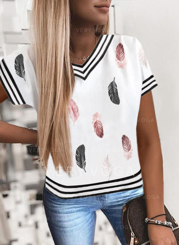 Print Striped Feather V-Neck Short Sleeves T-shirts