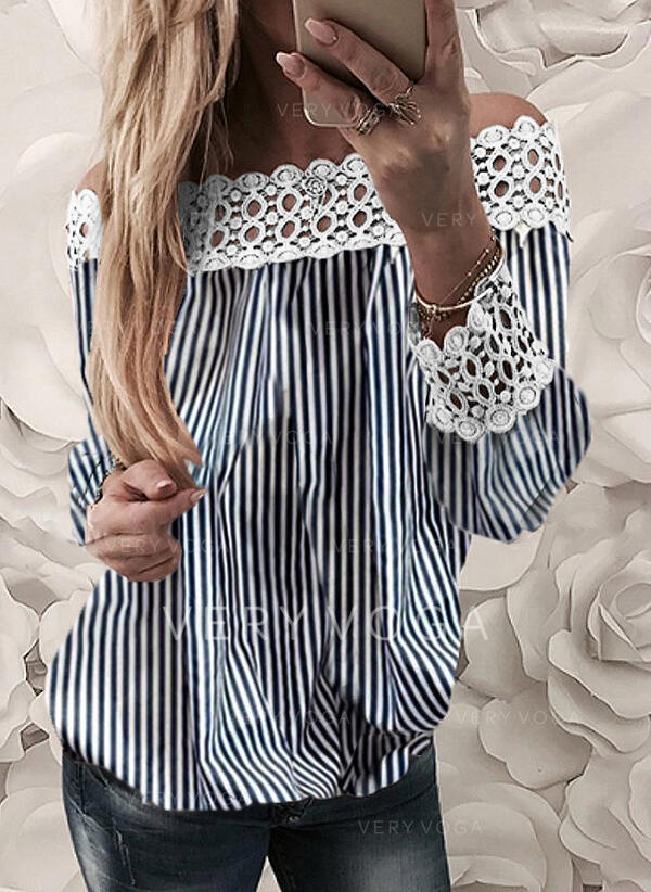 Striped Lace Off the Shoulder Long Sleeves Casual Elegant Blouses
