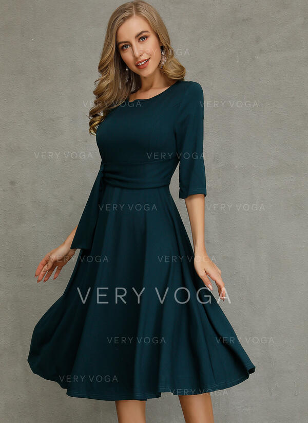 Solid 1/2 Sleeves A-line Knee Length Casual/Elegant Dresses