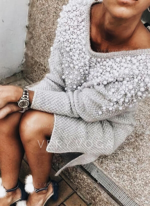 Solid Beaded V-Neck Casual Long Sweater Dress