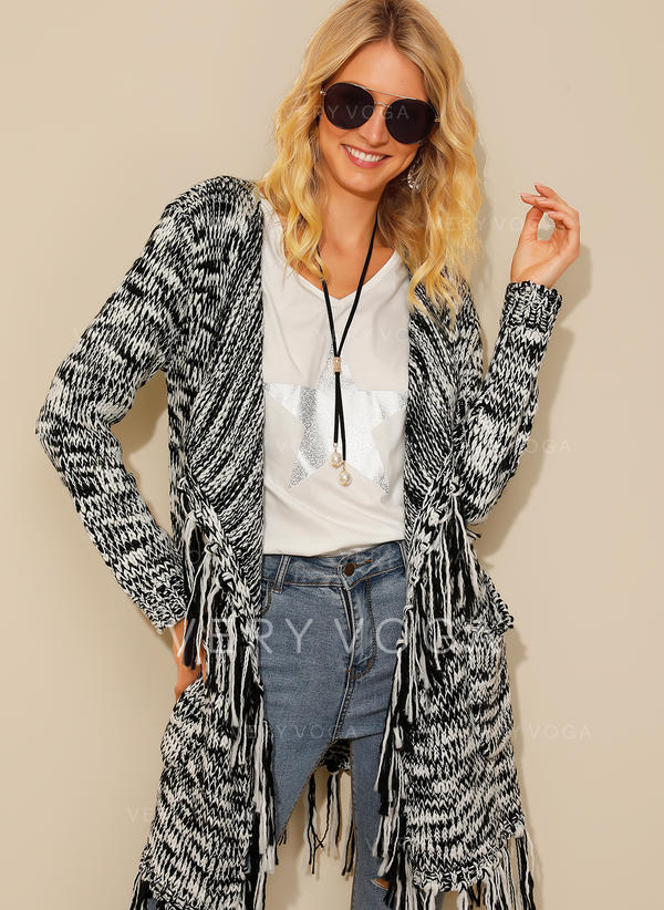 Acrylic Long Sleeves Print Cardigans