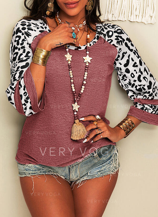 Leopard Round Neck 3/4 Sleeves Casual Blouses