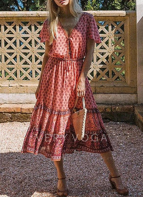 Print Short Sleeves A-line Casual/Boho/Vacation Midi Dresses