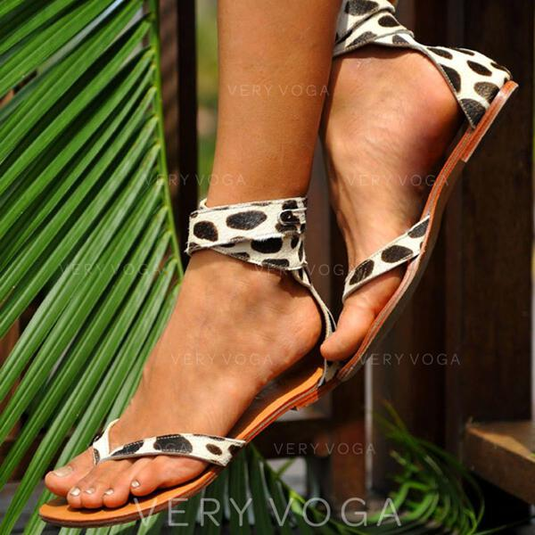 Women's Suede Flat Heel Sandals Closed Toe Flip-Flops With Animal Print shoes