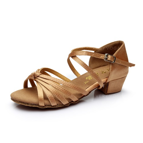 Women s Kids  Satin Heels Sandals Latin With Ankle Strap Dance Shoes ... 7329ee0895