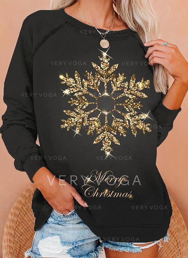 Друк Малюнок Кругла шия Довгі рукави Різдвяні светри