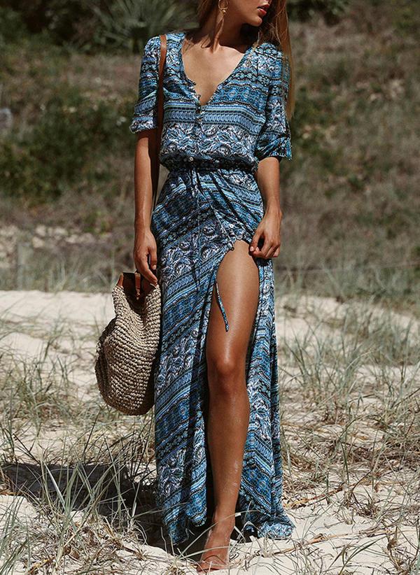 Print 1/2 Sleeves Shift Maxi Casual/Boho/Vacation Dresses