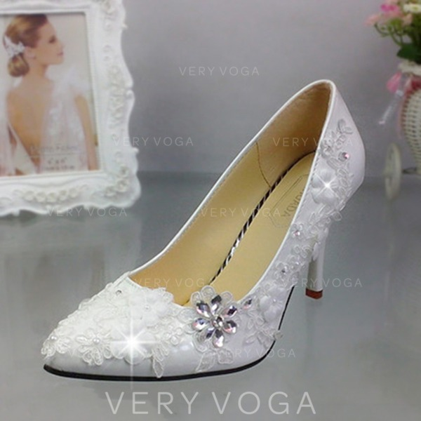 70707d9f6 Women s Patent Leather Stiletto Heel Closed Toe Pumps With Imitation Pearl  Rhinestone Stitching Lace Applique
