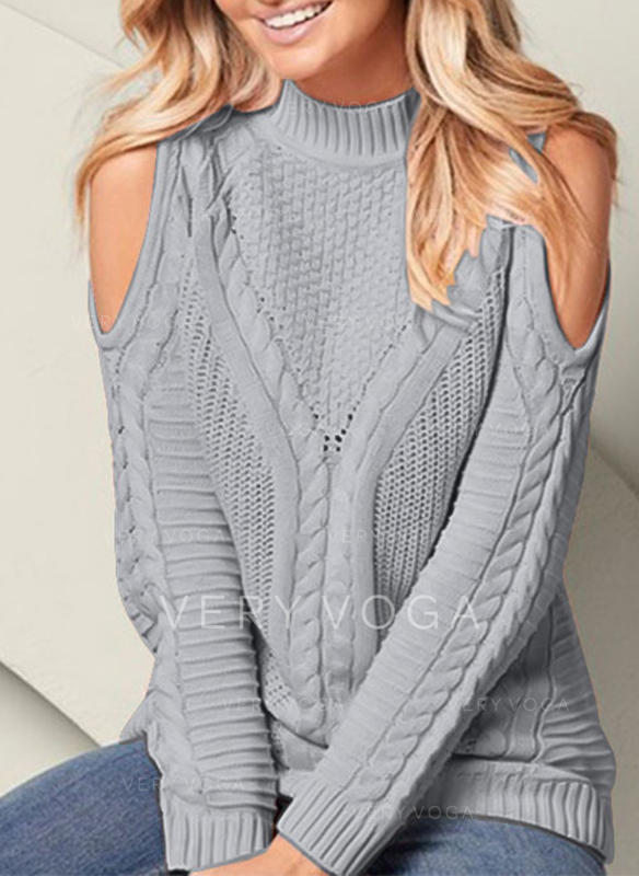 Solid Cold Shoulder Sweaters