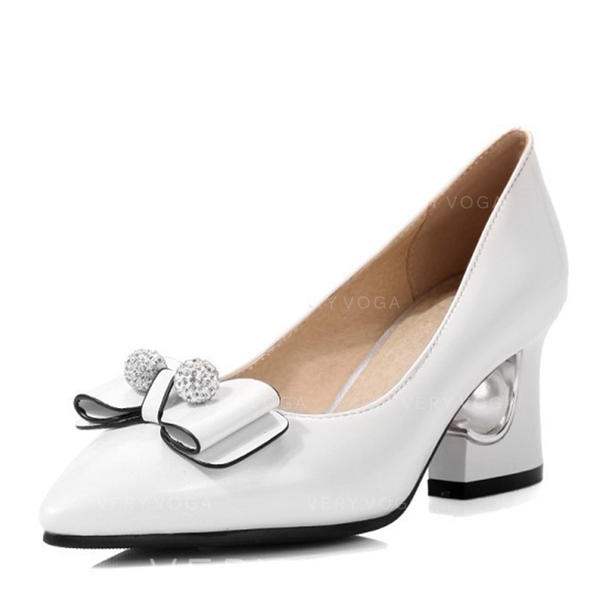 Women's Leatherette Low Heel Boots Closed Toe Pumps With Bowknot Pearl