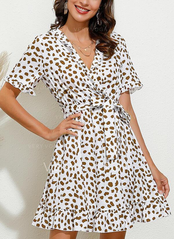 Print Short Sleeves A-line Knee Length Casual/Elegant Wrap/Skater Dresses