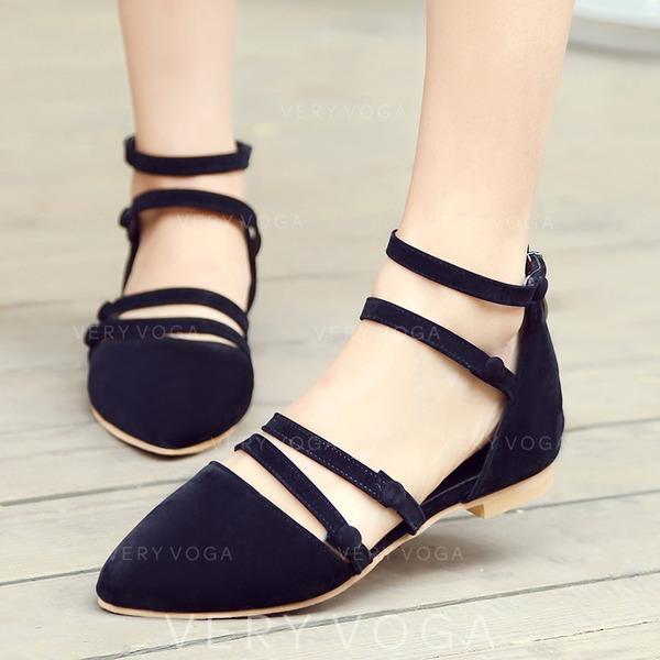 Femmes Suède Talon plat Sandales Chaussures plates Bout fermé avec Boucle Dentelle chaussures