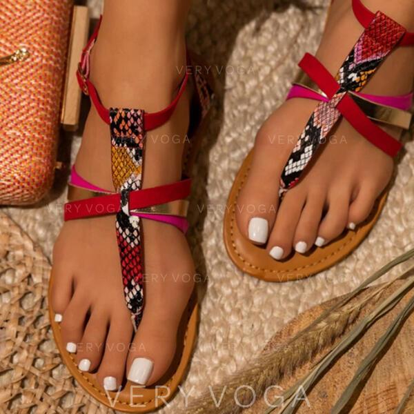Women's PU Flat Heel Sandals Peep Toe With Buckle Split Joint shoes