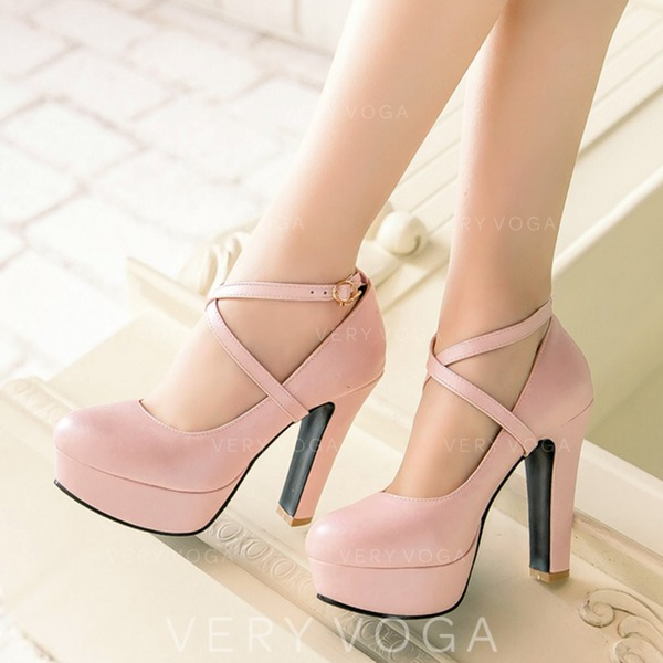 281dffa3a177 Women s Leatherette Chunky Heel Pumps Platform Closed Toe With Lace-up shoes