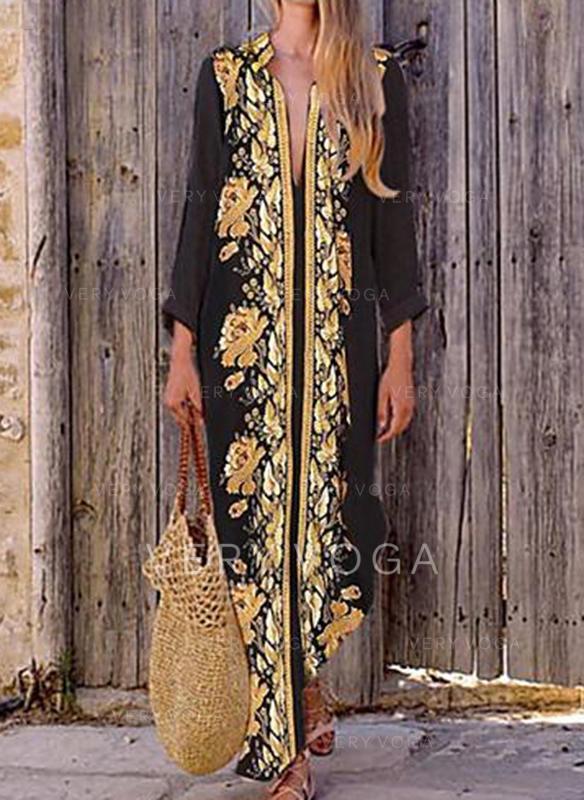 Nadrukowana/Kwiatowy Długie rękawy Koktajlowa Casual/Boho/Wakacyjna Maxi Sukienki