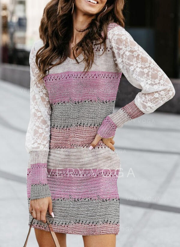 Bloque de Color Encaje Cuello en V Casuales Largo Ajustado Vestido de Suéter