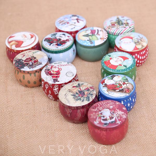 щасливого Різдва Сніговик Олені Санта Метал Банки з цукерками