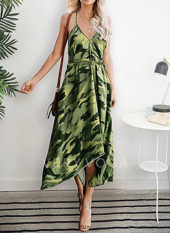 9411a8910a Nadrukowana Bez rękawów W kształcie litery A Asymetryczna Casual Wakacyjna  Sukienki