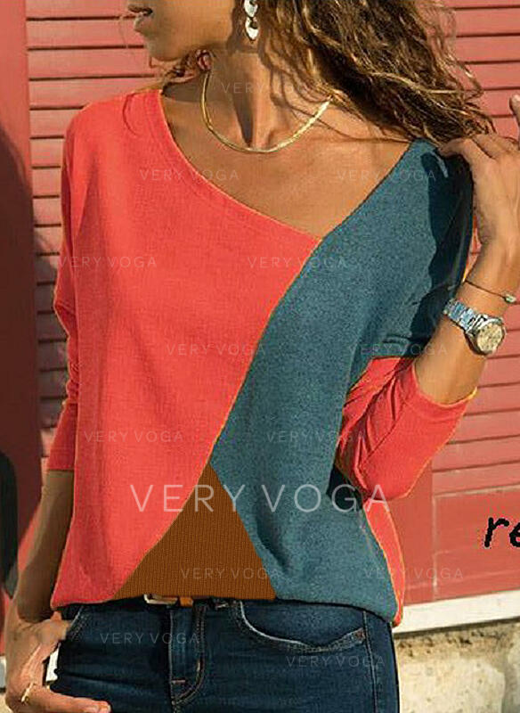Color Block V Neck Long Sleeves Casual Blouses