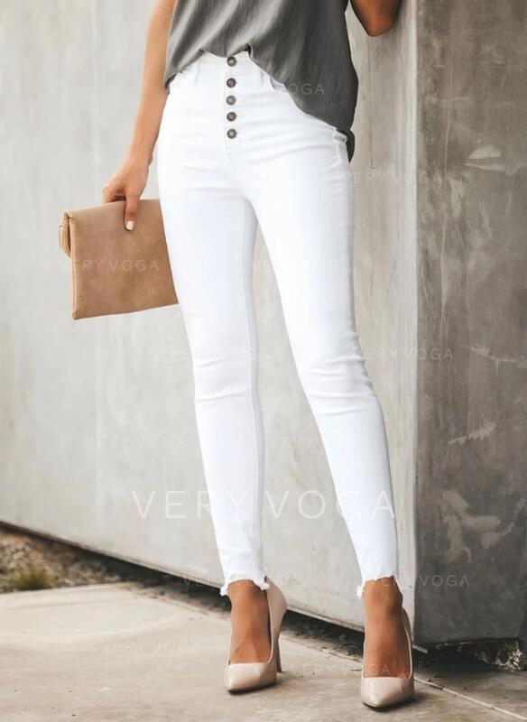 Solid Plus Size Elegant Plain Denim & Jeans