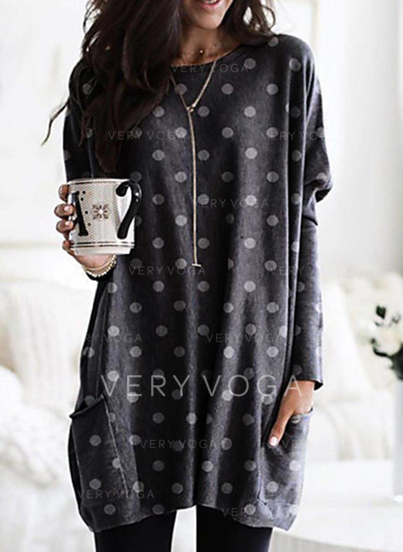 PolkaDot Round Neck Long Sleeves Casual Knit Blouses