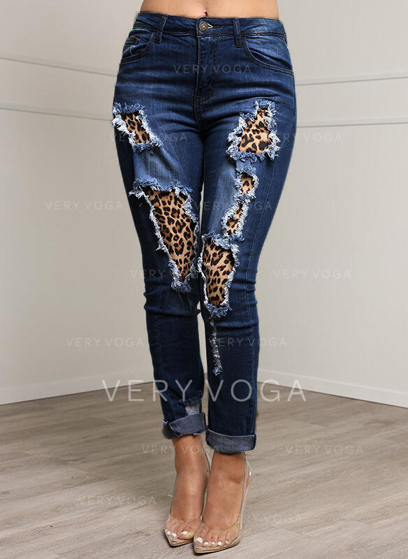 Patchwork Pockets Plus Size Leopard Long Sexy Denim Denim & Jeans