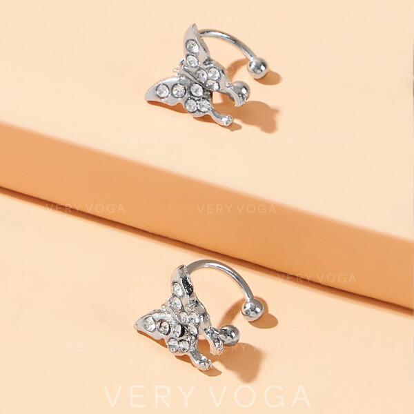 Shining Delicate Alloy With Butterfly Earrings 2 PCS