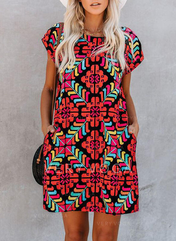 Εκτύπωση Κοντά Μανίκια Αμάνικο Πάνω Από Το Γόνατο Καθημερινό Сукні