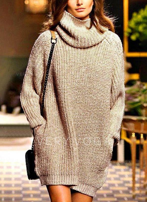 Einfarbig Taschen Rollkragen Pulloverkleid