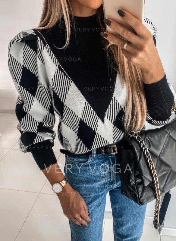 Color Block Grid Stand Collar Casual Sweaters