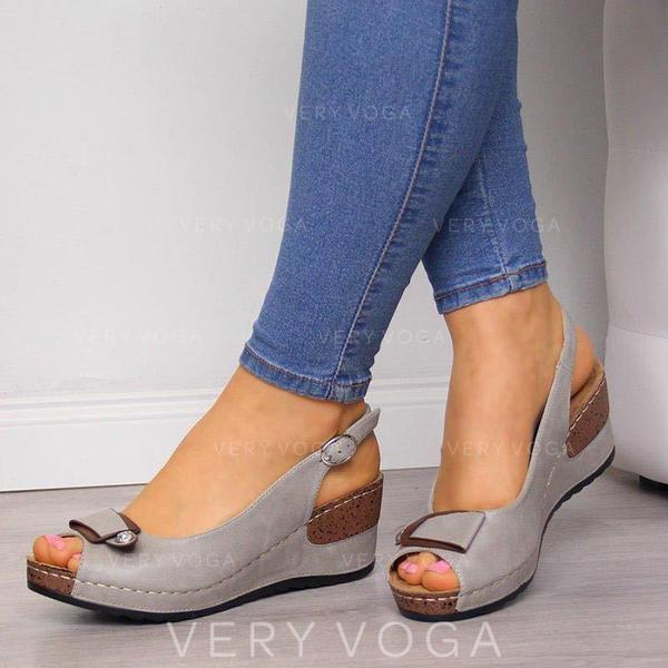 Femmes PU Talon compensé Sandales Compensée À bout ouvert avec Boucle chaussures