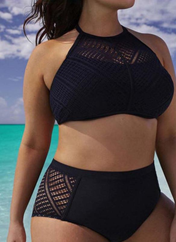 Einfarbig Neckholder Elegant Übergröße Bikinis Badeanzüge