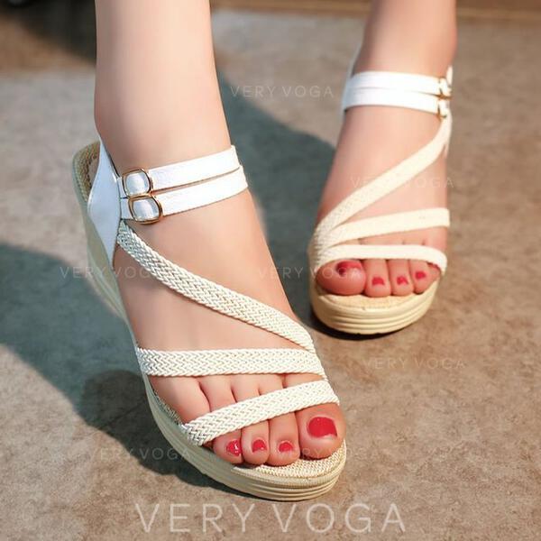 Women's Fabric PU Wedge Heel Sandals Peep Toe With Buckle shoes