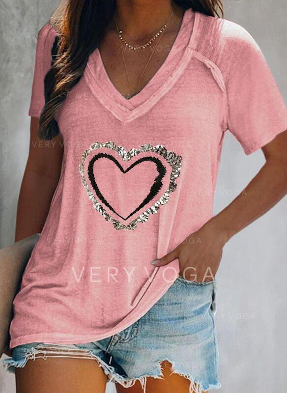 Corazón Impresión Cuello en V Manga Corta Camisetas