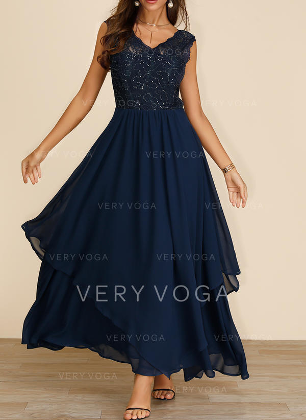 Lace/Sequins/Solid Sleeveless A-line Maxi Party/Elegant Dresses