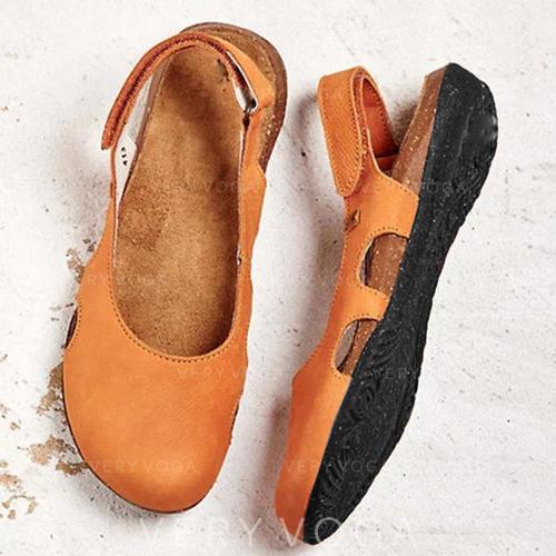 Kvinner PU Flat Hæl Flate sko med Velcro sko