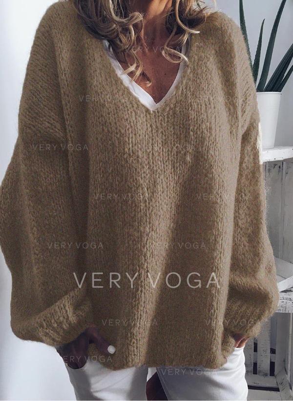Einfarbig Grobstrick V-Ausschnitt Übergroßen Freizeit Pullover